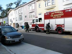Fire trucks respond on Chenery.