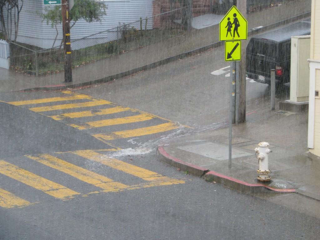 It's pouring in Glen Park