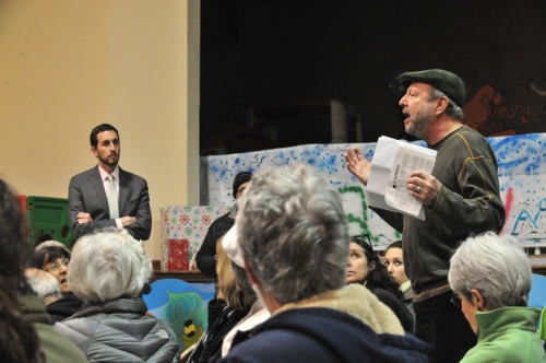 A neighbor speaks out against the need to cut trees to accomplish the renovation. District 8 representative Scott Wiener, left, listens.