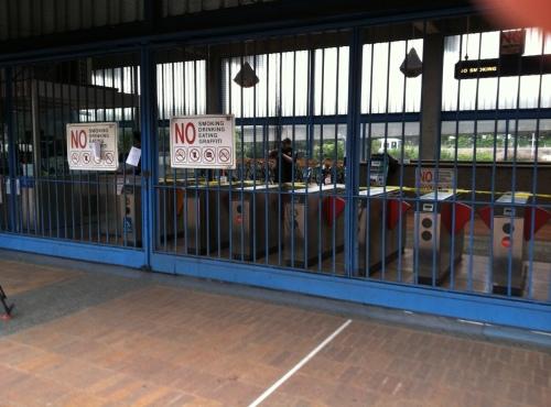 Closed BART station. Photo by Carolyn Deancy.