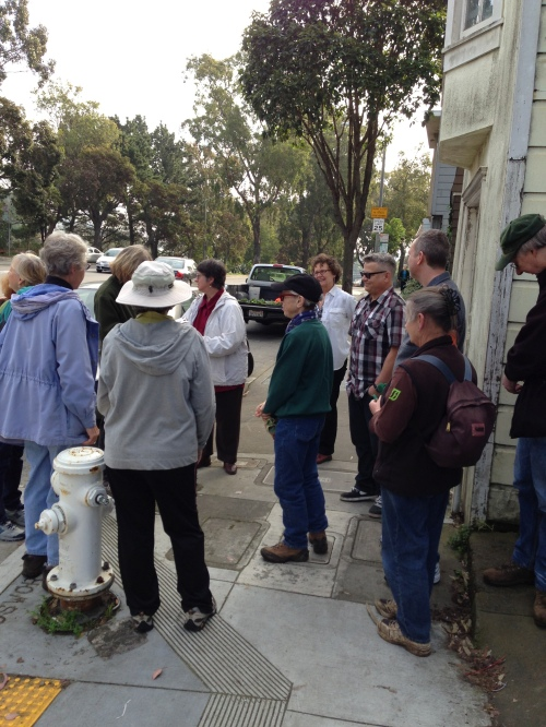John Priola and his Glen Park Neighbors looking at his Bosworth Garden on February 16, 2013.