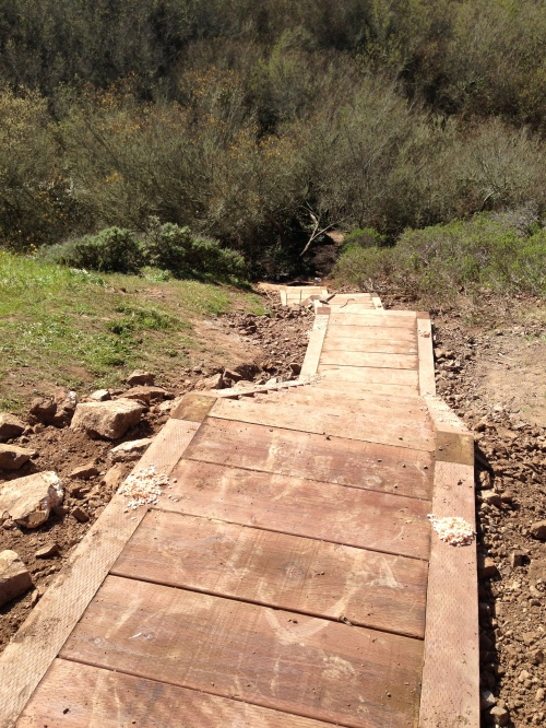 Completed stringer steps and platforms looking down from 120 feet atop the western slope in Glen Canyon. The stringer steps are the last portion of the Saddle Trail Project that began on January 16, 2013. The project is scheduled for completion in the first week of March 2013.