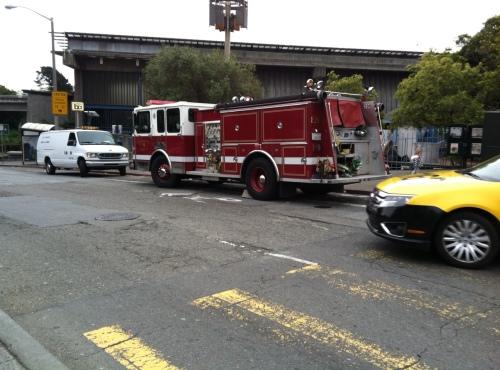 Fire trucks at Glen Park BART. Photo by Carolyn Deacy.
