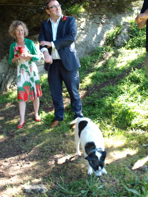 The wedding couple being attended by Jadey, family canine.