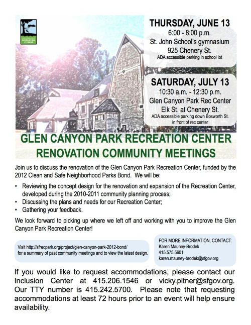 Glen Canyon Rec Center Renovation Community meetings flyer