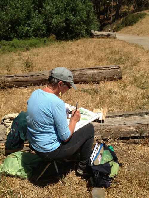 Boz Verbrugghe, enrolled in a CCSF watercolor class, paints in Glen Canyon on June 19, 2013.  Photo by Murray Schneider.