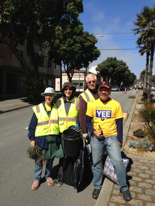 Keren Abra, Ray Kutz, Jennfer Heggie pictured with Supervisor Norman Yee on July 13, 2013. Along with Supervisor Yee, members of the Sunnyside Neighborhood Association Greening Committee worked removing weeds and litter along Monterey Boulevard street medians.