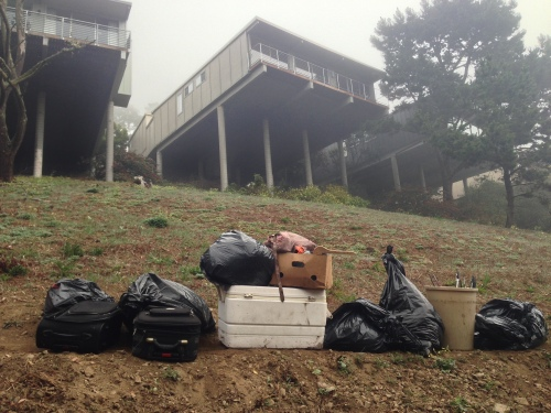 Belongings carried from Glen Canyon where a young homeless woman lived In December and January. The woman's camp was just below homes on Turquoise Drive.