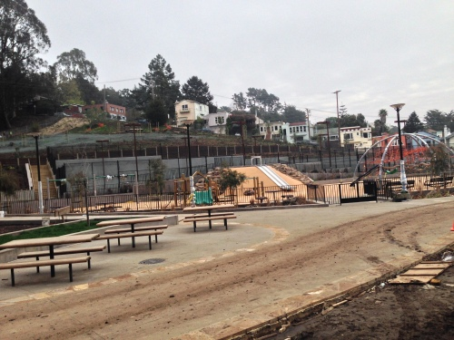 Glen Park Recreation Center Playground Project only days from completion. Ribbon cutting ceremony scheduled for March 15. Photo taken on March 5, 2014