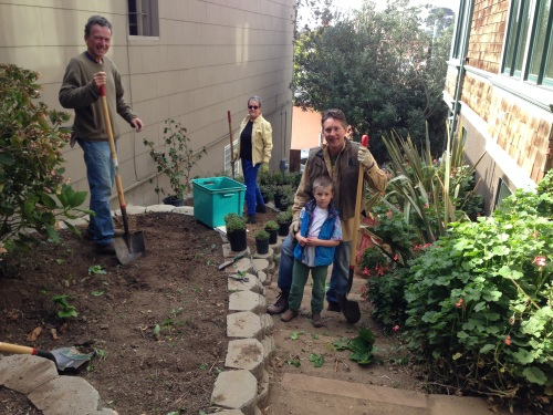 Adam King, Gregory Holmes and Billy Phoenix working on Surrey Street steps landscaping.