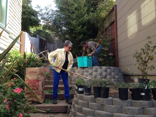 Kay Hamilton Estey and Adam KIng work, one of many Saturdays they volunteered to create the Surrey Street steps.
