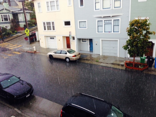 Heavy rains falls on Chenery Street in Glen Park. April 1, 2014.