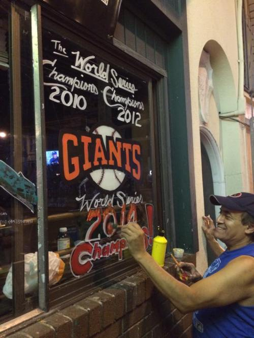 Within an hour of the Giants winning, the Glen Park Station received new artwork celebrating the Giants win. Photo: Andrew Greenstein).