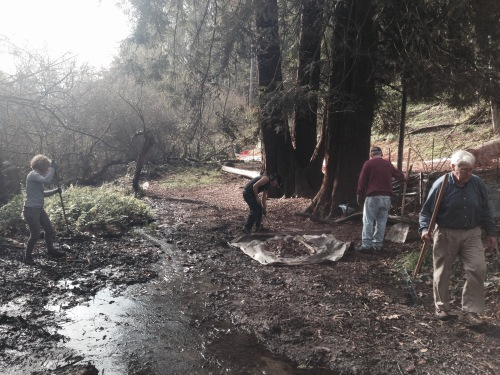 How the creek looked before children and Rec & Park volunteers finished working. This photos shows Alison Draper, Steve Uchida, Jim Hanratty and Sam Orr working to clear Islais Creek of debris.
