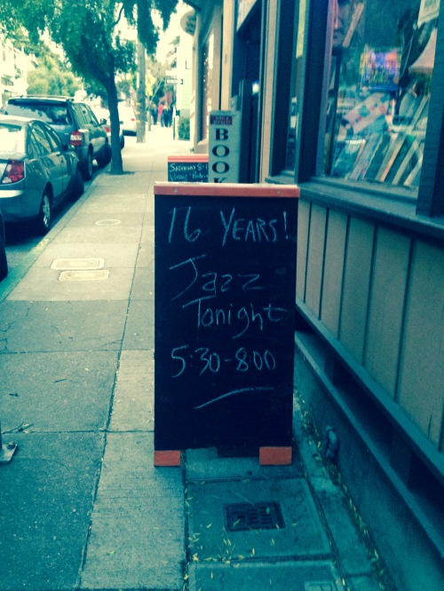Street ad for May 22, 2015 Bird & Beckett Friday evening jazz, announcing sixteen years of playing music