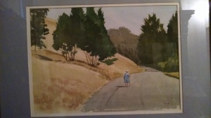 Amelia Leake walking in Glen Canyon, 1978. Watercolor by William Alan Youngblood