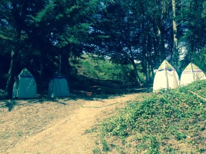 V-O-Cal shower tents stationed above Silver Tree Summer Camp.