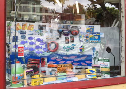 The window display at Glen Park Hardware. August 2015.