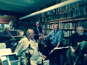 - Howie Dudune, JImmy Ryan, Don Prell, Scott Foster and Chuck Peterson at Bird & Beckett's 16th anniversary celebration of Jazz in the Bookstore -- May 22, 2015.