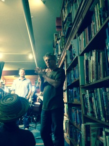 With Joel Ryan behind him, bookseller Eric Whittington introducing Jimmy Ryan's Bird & Beckett Bebop Band.